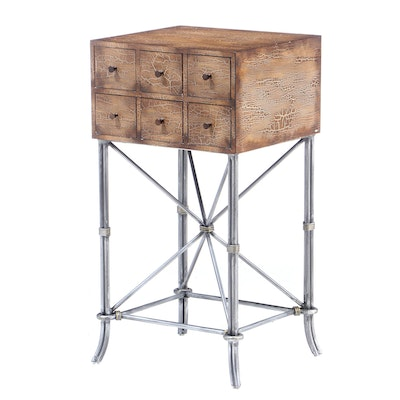 Crackle Finish Metal Base Chest of Drawers, Contemporary