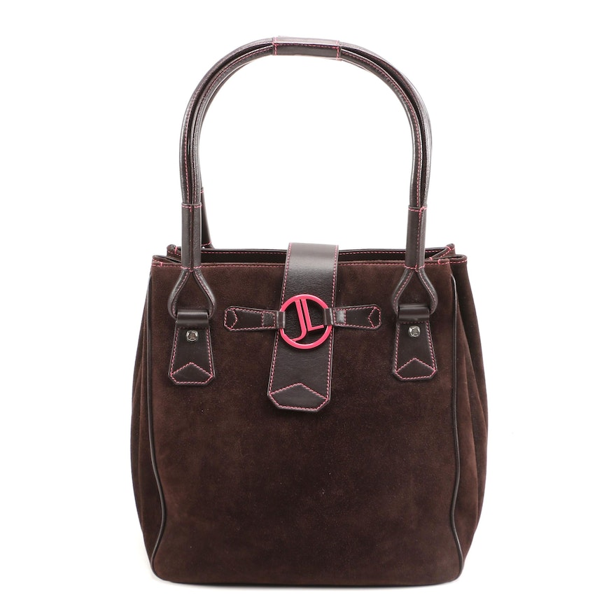 Judith Leiber Brown Suede and Leather Shoulder Bag with Pink Contrast Stitching