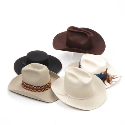 Western Hat Assortment Including 5X Beaver Felt, Vintage