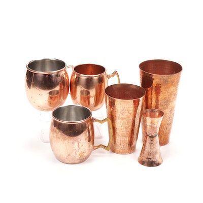 Sertodo Mexican Hammered Copper Cocktail Set With Fly Beyond Moscow Mule Mugs