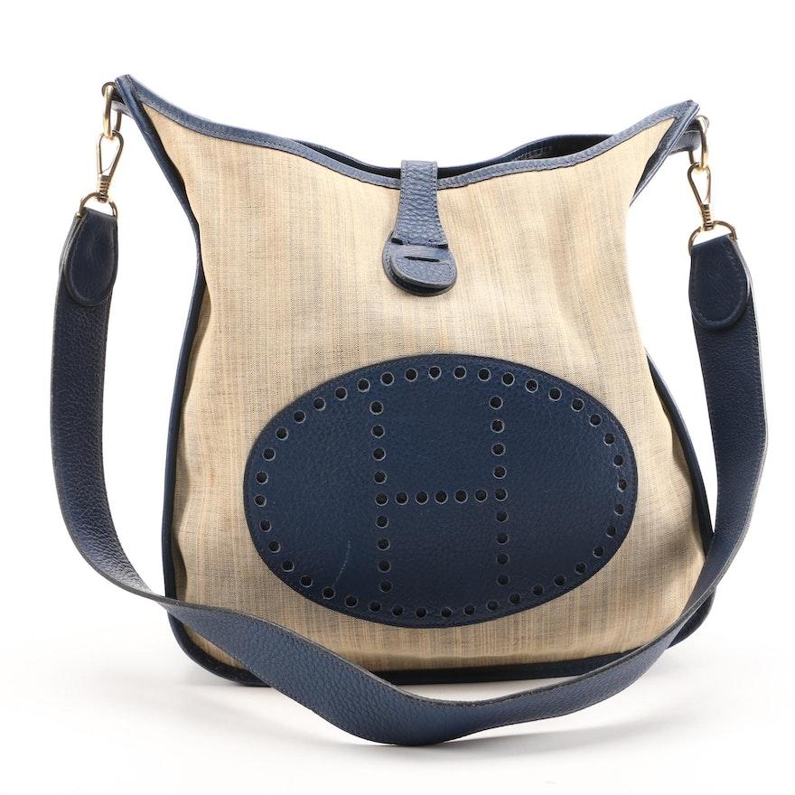 Hermès Evelyne I Striped Canvas and Navy Blue Clemence Leather PM Shoulder Bag