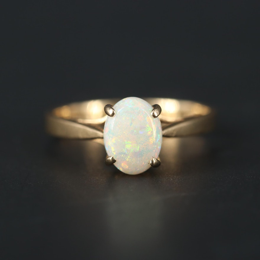 14K Yellow Gold Opal Solitaire Ring
