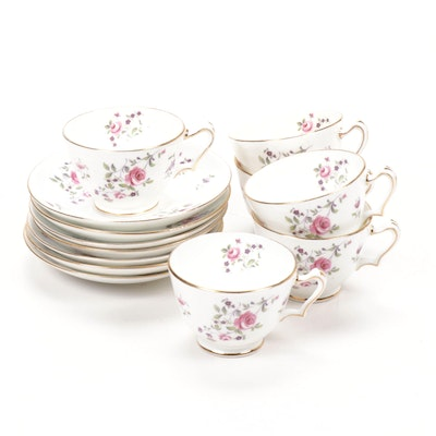 "Crown Staffordshire ""English Rosebud"" Porcelain Teacups and Saucers"