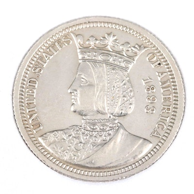 High Grade 1893 Columbian Exposition Isabella Commemorative Silver Quarter