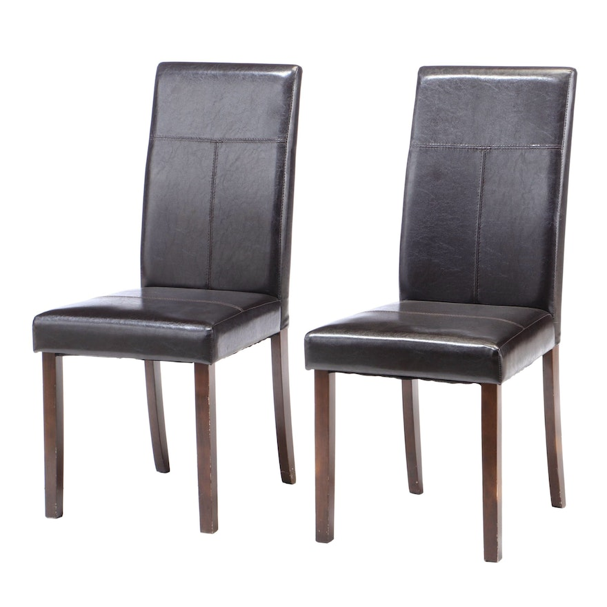 Contemporary Faux Leather Parsons Side Chairs