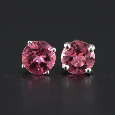 14K White Gold Tourmaline Stud Earrings