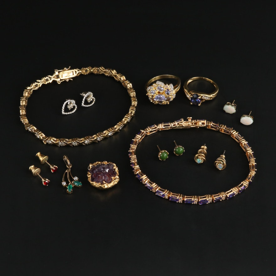 Assorted Earrings, Rings and More Featuring Tanzanite, Amethyst and Diamonds