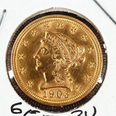 1903 Liberty Head $2.50 Quarter Eagle Gold Coin