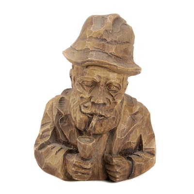Carved Wood Bust of Man with Pipe