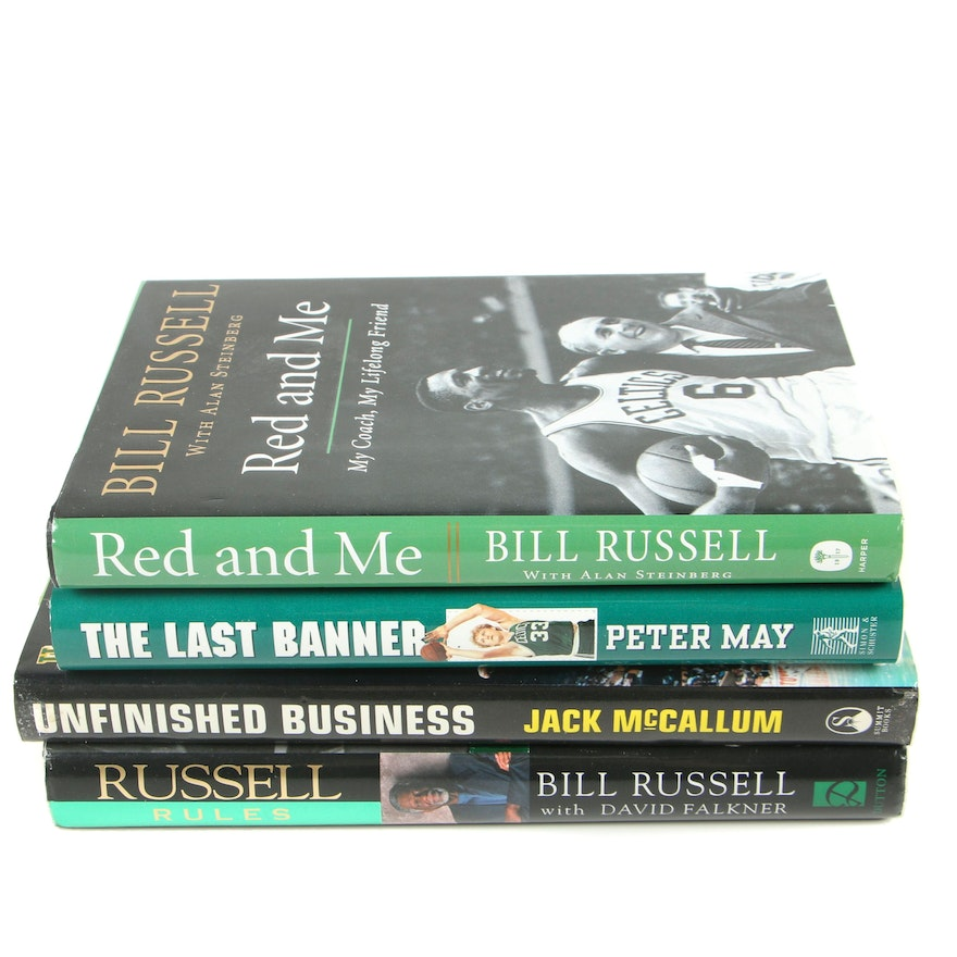 Boston Celtics and NBA Player Bill Russell Nonfiction Books, Four Volumes