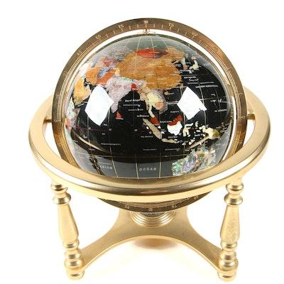 Gemstone Inlaid Desktop Globe with Brass Base