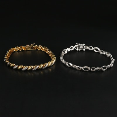 Sterling Silver Diamond Bracelets