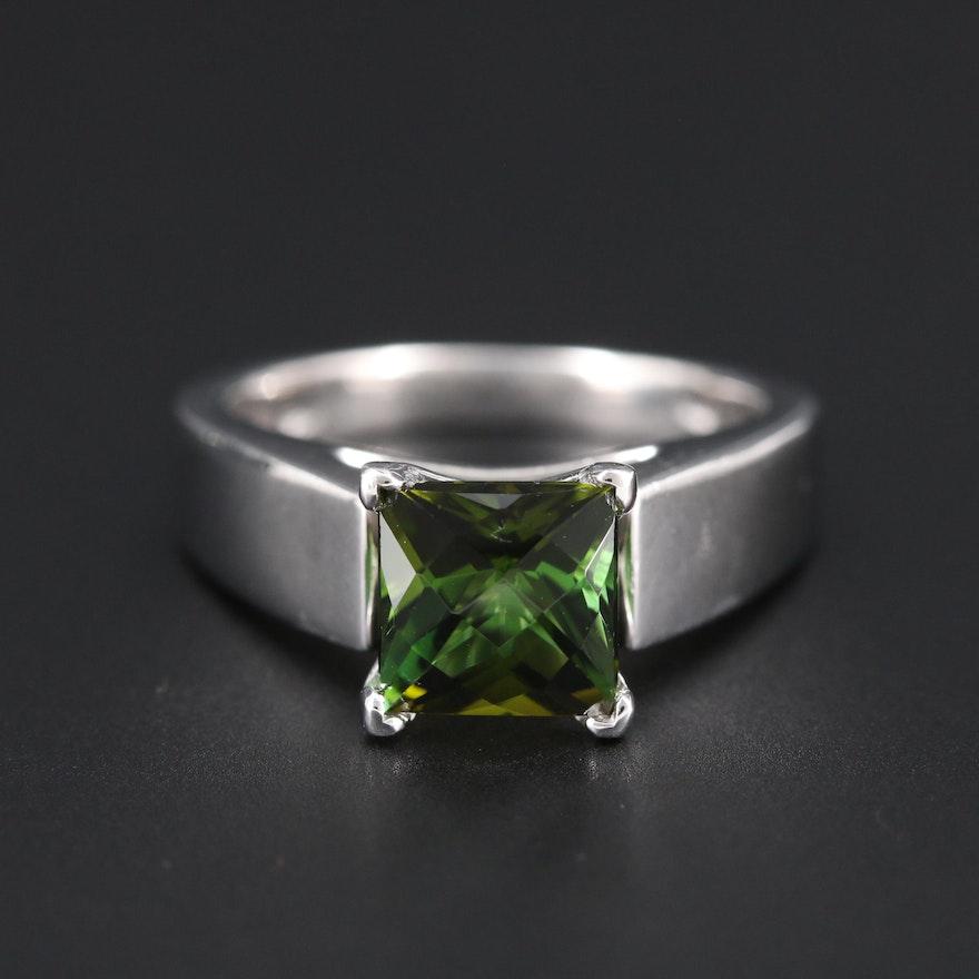 Platinum Tourmaline Solitaire Ring