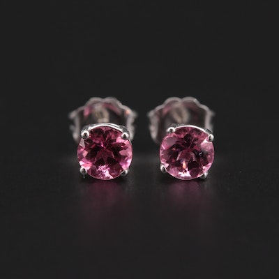 14K White Gold Pink Tourmaline Stud Earrings
