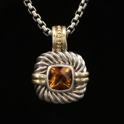 David Yurman Sterling Silver Citrine Pendant Necklace with 14K Gold Accents