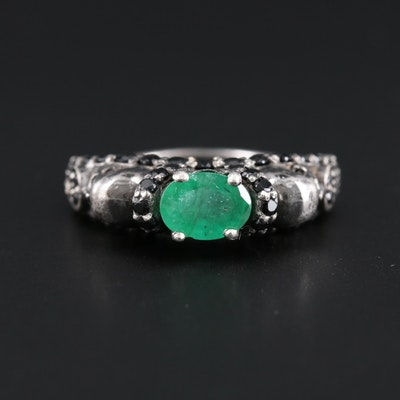 Sterling Silver Emerald Skull Motif Ring