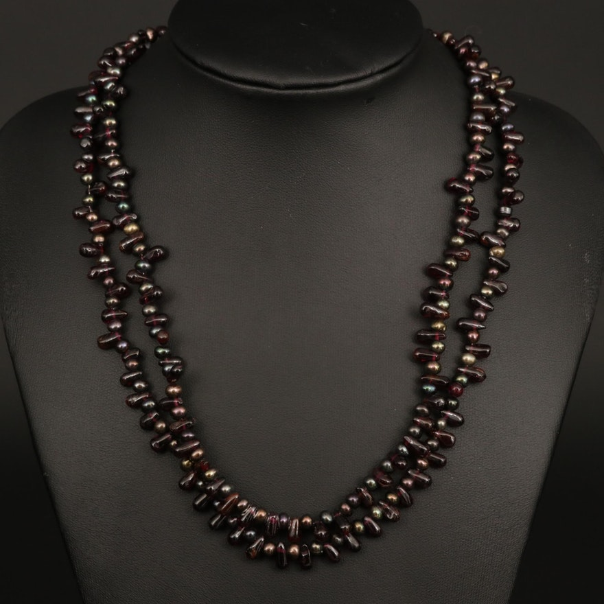 Sterling Silver Rhodolite and Cultured Pearl Bead Necklace