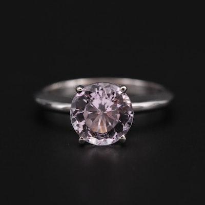 14K White Gold Kunzite Solitaire Ring