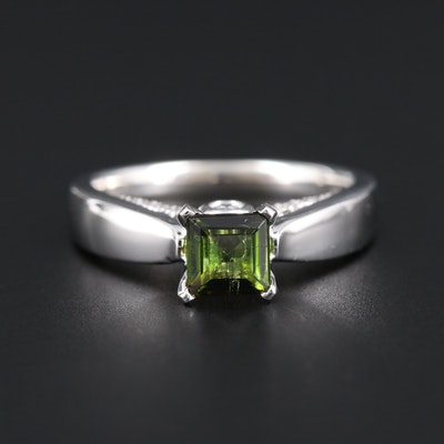 14K White Gold Tourmaline and Diamond Ring
