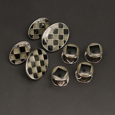 Sterling Silver Enamel and Resin Cufflinks and Shirt Studs