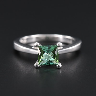 18K White Gold Tourmaline Solitaire Ring
