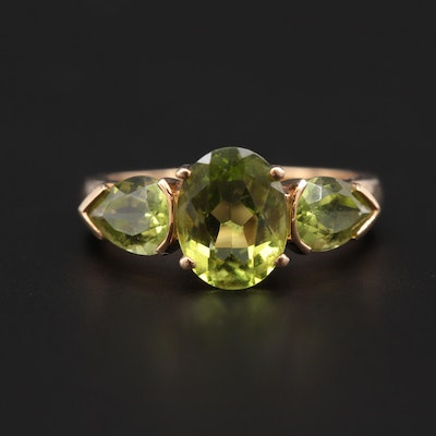 14K Yellow Gold Peridot Ring
