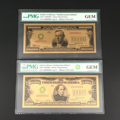 "Two PMG Graded Gem Uncirculated ""Smithsonian Edition"" Gold Certificates"