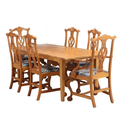 Chippendale Style Maple Dining Set, Late 20th Century