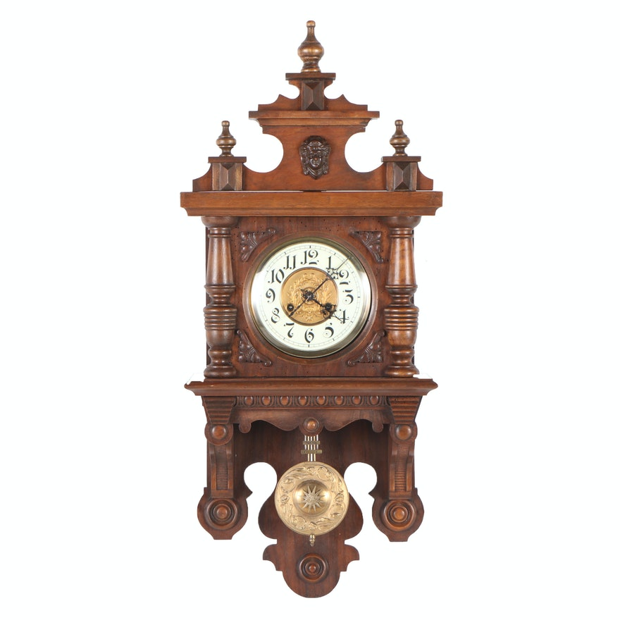 "Junghans, Carved Walnut ""Free Swinger"" Wall Clock, Late 19th/Early 20th Century"