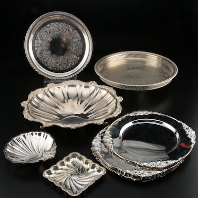 Godinger Silver Plate Chargers with Other American Silver Plate Serveware