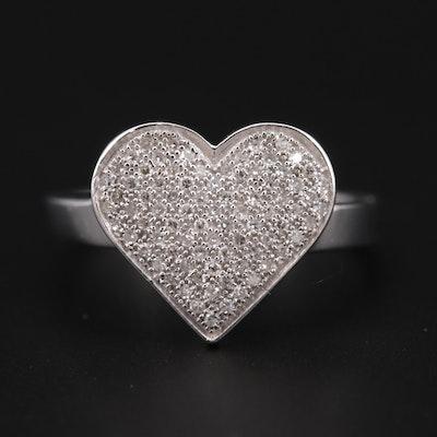 14K White Gold Diamond Heart Ring