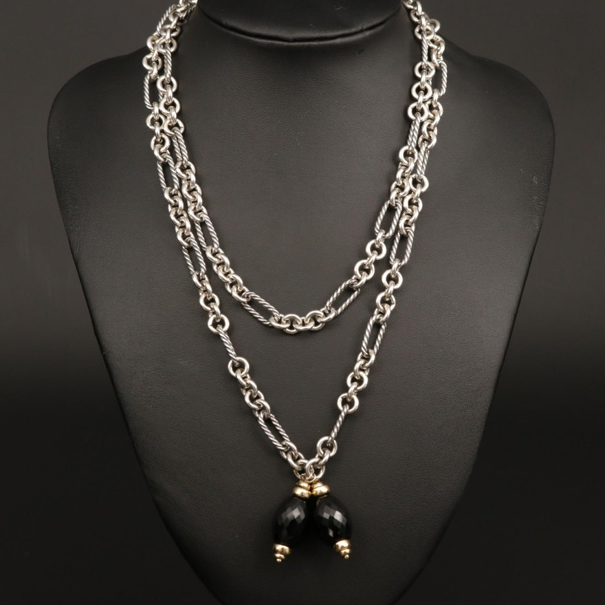 David Yurman Sterling Sautoir Necklace with Black Onyx and 18K Gold Accents