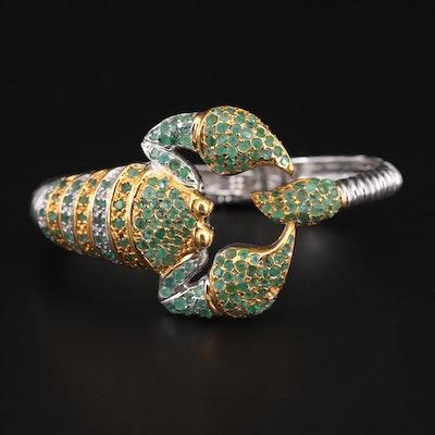 Sterling Silver Emerald Scorpion Hinged Bracelet