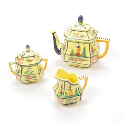 "Quimper Faïence ""Soleil Yellow"" Earthenware Teapot, Creamer and Lidded Sugar"