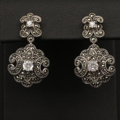 Judith Jack Sterling Silver Cubic Zirconia and Marcasite Earrings