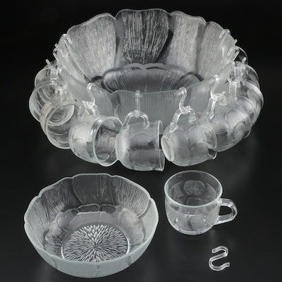 "Arcoroc ""Fleur"" Glass Punch Bowl and Cups, Late 20th Century"