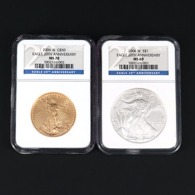 American Eagle 20th Anniversary Gold and Silver Coin Set