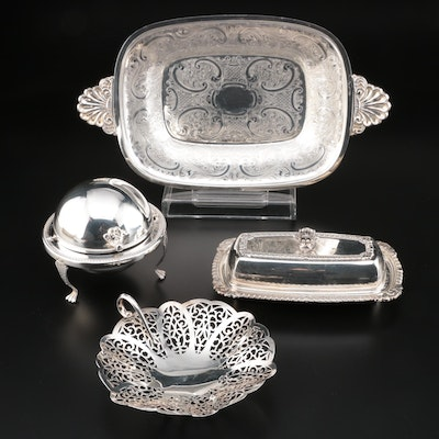 Silver Plate Serving Tray, Reticulated Bon Bon and Caviar Dish, 20th Century