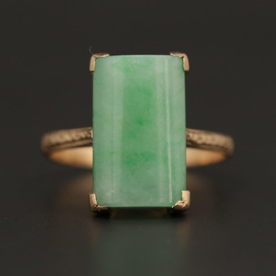 Vintage 18K Yellow Gold Jadeite Ring
