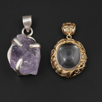 Sterling Silver Rock Quartz Crystal and Amethyst Pendants