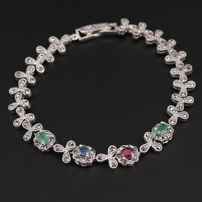 Sterling Silver Sapphire, Ruby and Emerald Bracelet