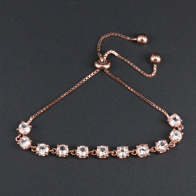 Sterling Silver Aquamarine Bolo Bracelet