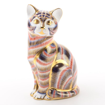 Royal Crown Derby Bone China Cat Paperweight, 1987