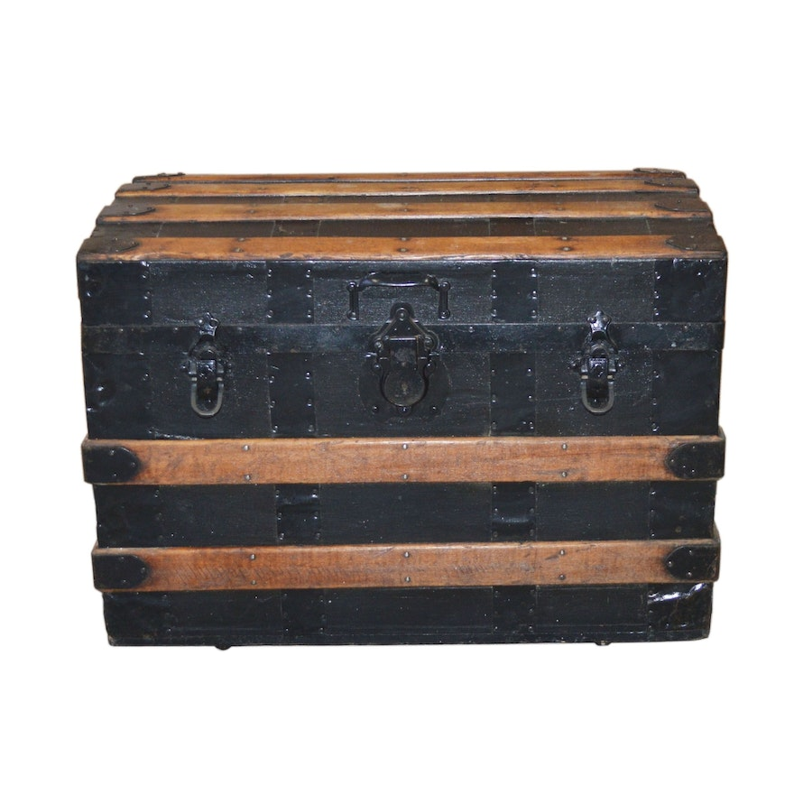 Wood Slat Steamer Trunk with Tray, Antique