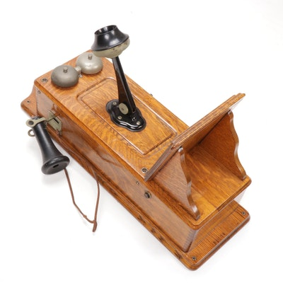 Oak Wall Telephone, Early 20th Century