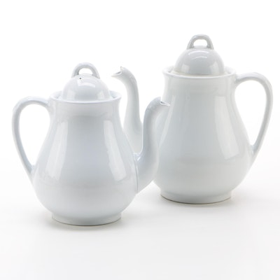 Powell & Bishop of England Ironstone Teapot and Coffee Pot Set, circa 1870