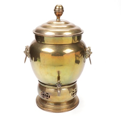 Brass Belly Samovar with Guardian Lion Drop Ring Handles