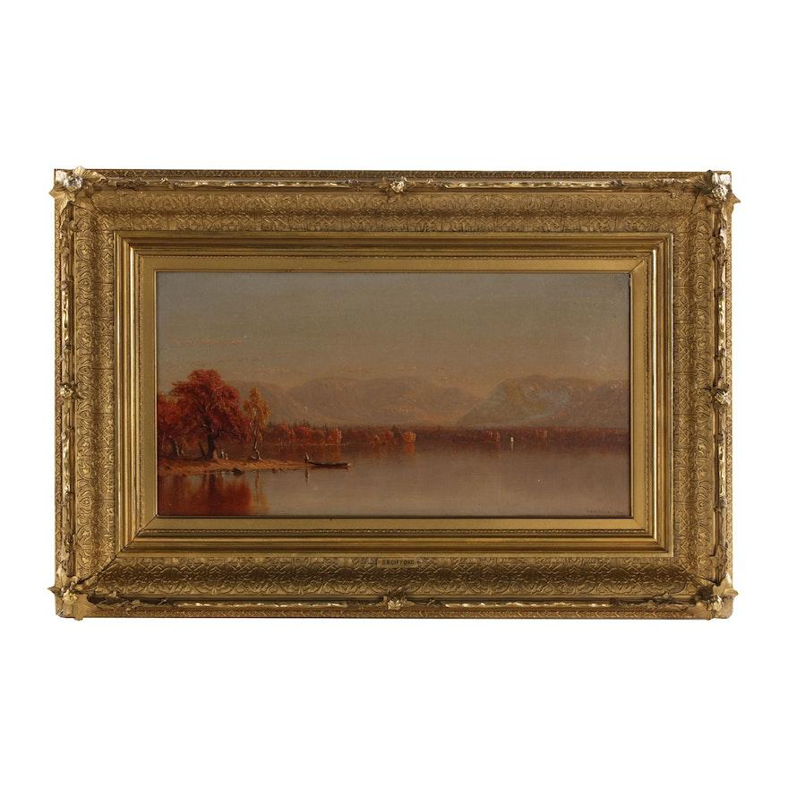 Sanford Gifford Luminist Oil Painting of Lake Sunapee, 1860