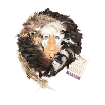 "R.W. Adamson Ceramic and Feathered ""Shaman's Medicine"" Mask, 1989"