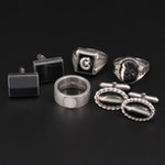 Collection of Sterling Silver Rings and Cufflinks Featuring Emporio Armani